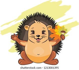 Cute hedgehog with maple leaves and mushroom. Vector