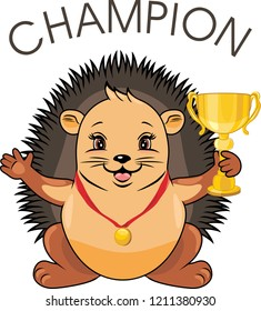 Cute hedgehog with a medal and a champion goblet. Vector