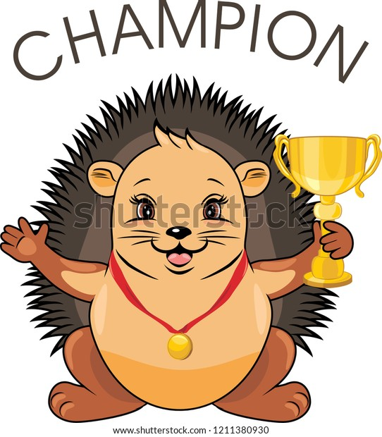 cute-hedgehog-medal-champion-goblet-600w