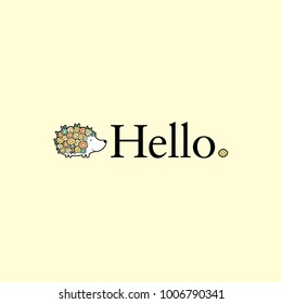 Cute hedgehog next to the word hello with flowers and leaves in pastel colors vector illustration on a yellow background.