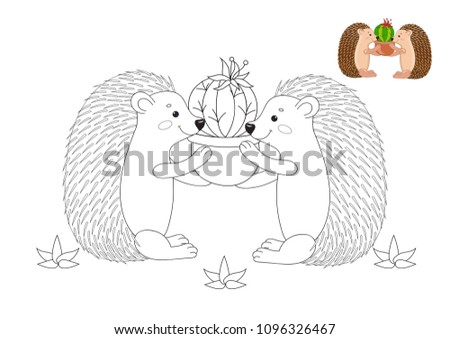 Cute Hedgehogs Cactus Coloring Book Page Stock Vector Royalty Free