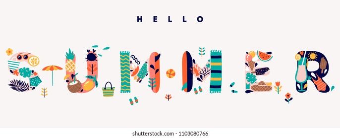 Cute hello summer lettering illustration.