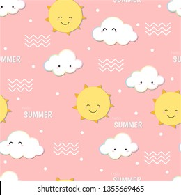 Cute hello summer,  smiling sun and cloud doodle seamless pattern vector background.