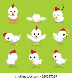 Cute Hen 3D Cartoon Character Poses