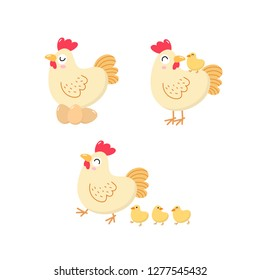 Cute hen and chick. Chicken and baby. Animal cartoon character set. Vector in flat style.