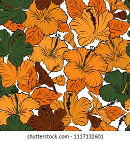 Cute hibiscus flowers pattern. Watercolor seamless pattern on striped background. Vector floral print in orange, yellow and green colors.