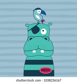 cute hippo with bird on striped background vector illustration