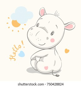 Cute hippo cartoon hand drawn vector illustration. Can be used for t-shirt print, kids wear fashion design, baby shower invitation card.