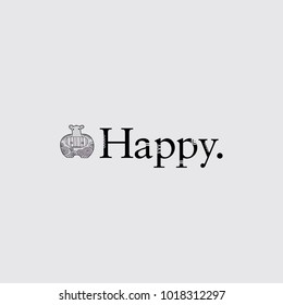 Cute hippo with crazy patterns next to the word happy on a grey background vector illustration.