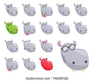 Cute Hippo Face Emoticon Emoji Expression Illustration