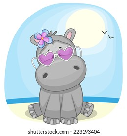 Cute Hippo girl in sunglasses on the beach
