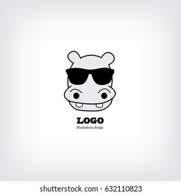 Cute hippo with glasses . Vector illustration