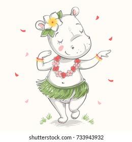 Cute hippo Hawaiian Hula dancer cartoon hand drawn vector illustration. Can be used for t-shirt print, kids wear fashion design, baby shower invitation card.