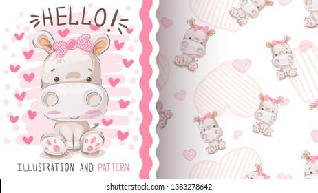 Cute hippo, hippopotamus - seamless pattern. Hand draw