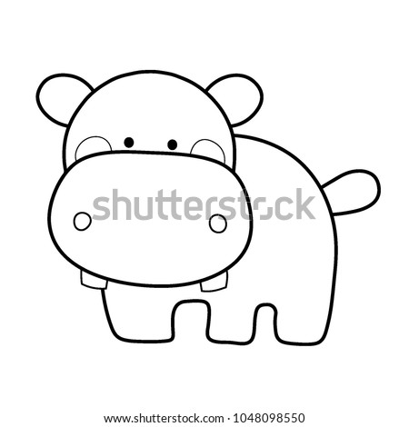 Cute Hippo Hippopotamus Toy Cartoon Line Art Style Vector Illustration Coloring Page For Kid