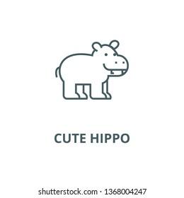 Cute hippo line icon, vector. Cute hippo outline sign, concept symbol, flat illustration