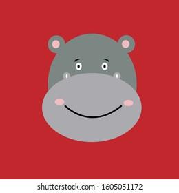 cute hippo mascot cartoon character logo vector illustration. hippo head icon.