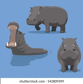 Cute Hippopotamus Cartoon Vector Illustration