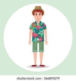 Cute hipster boy character with summer clothes and a hat. Hawaiian shirt.