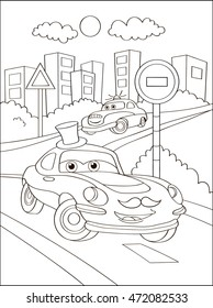 Cute hipster car in city, coloring page. Coloring book outdoor sport theme. Funny race machine isolated on white background. Vector illustration.