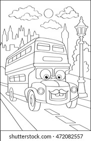 Cute hipster car in city, coloring page. Coloring book outdoor sport theme. Funny race machine isolated on white background. Vector illustration of england bus.