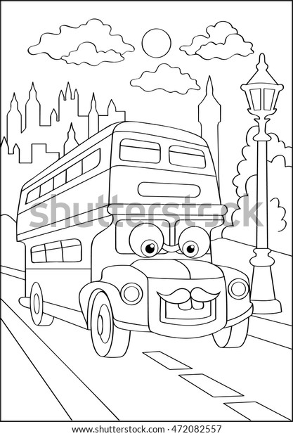 Cute Hipster Car City Coloring Page Royalty Free Stock Image