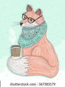 cute hipster fox with glasses drinking hot coffee winter background