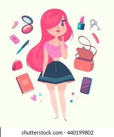 Cute hipster girl with pink hair is choosing accessories. Vector cartoon character.