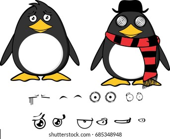 cute hipster penguin baby cartoon expressions set in vector format very easy to edit