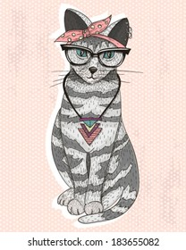 cute hipster rockabilly cat with head scarf glasses and necklace