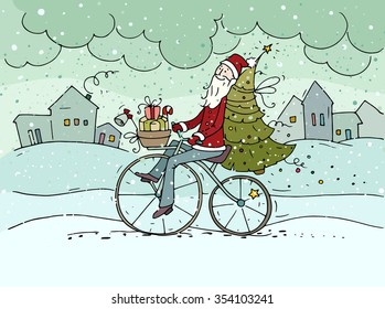 Cute hipster Santa Claus on bicycle delivering gifts and christmas tree. Doodle cartoon holiday poster. Hand drawn vector postcard for christmas and new year eve design.