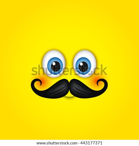 cute hipster smiling face with mustache emoticon emoji isolated on yellow background vector