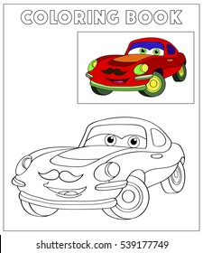 Cute hipster vintage car with mustache. Coloring book outdoor sport theme. Funny race machine isolated on white background. Vector illustration.