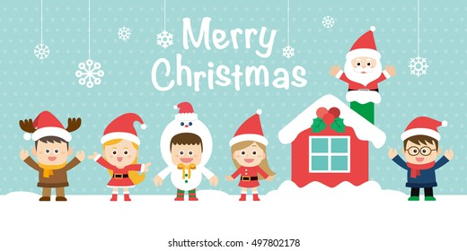 Cute holiday background with boys and girls. Merry Christmas card in vector.
