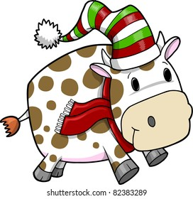 Cute Holiday Christmas Cow Vector Illustration