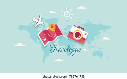 Cute holiday icon with text Travelogue