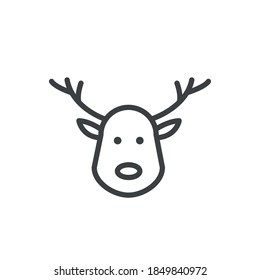 Cute holiday reindeer face isolated. Merry Christmas concept. Modern outline on white background