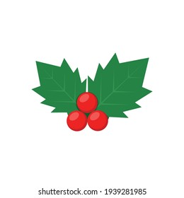 Cute holly isolated on white background. Vector illustration.