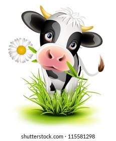 Cute Holstein cow in green grass