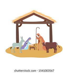 cute holy family and animals in stable manger characters vector illustration