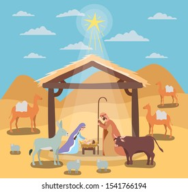 cute holy family in stable with animals manger characters vector illustration design