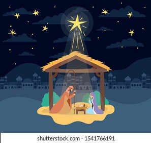 cute holy family in stable manger characters vector illustration design