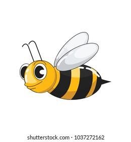 Cute Honey Bee Flying Vector Illustration.