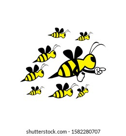 cute honey bee mascot character vector logo design template inspiration.