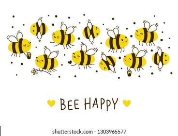 Cute honey bees border for Your kawaii design