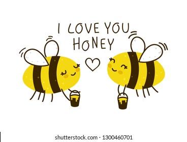 Cute Honigbienen einzeln auf Weiß