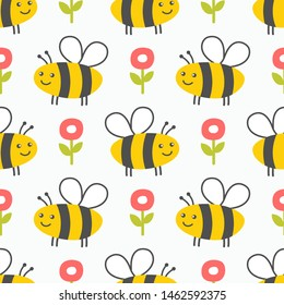 Cute honey seamless pattern. Bees and flowers kids background. Vector illustrstion.