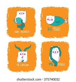 cute horoscope with cats, Aquarius,pisces, capricorn, virgo
