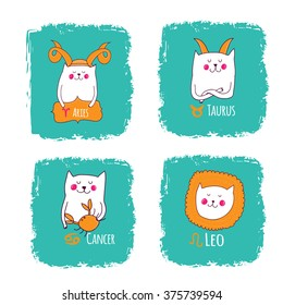cute horoscope with cats, Aries,taurus,cancer,leo