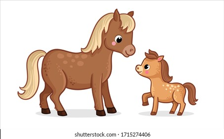 Cute horse with foal on a white background in cartoon style. Vector illustration with farm animals mom and baby.